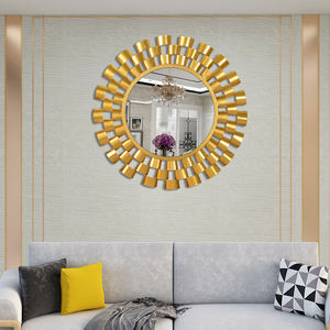 Living room modern hanging personality design round metal frame wall mirror