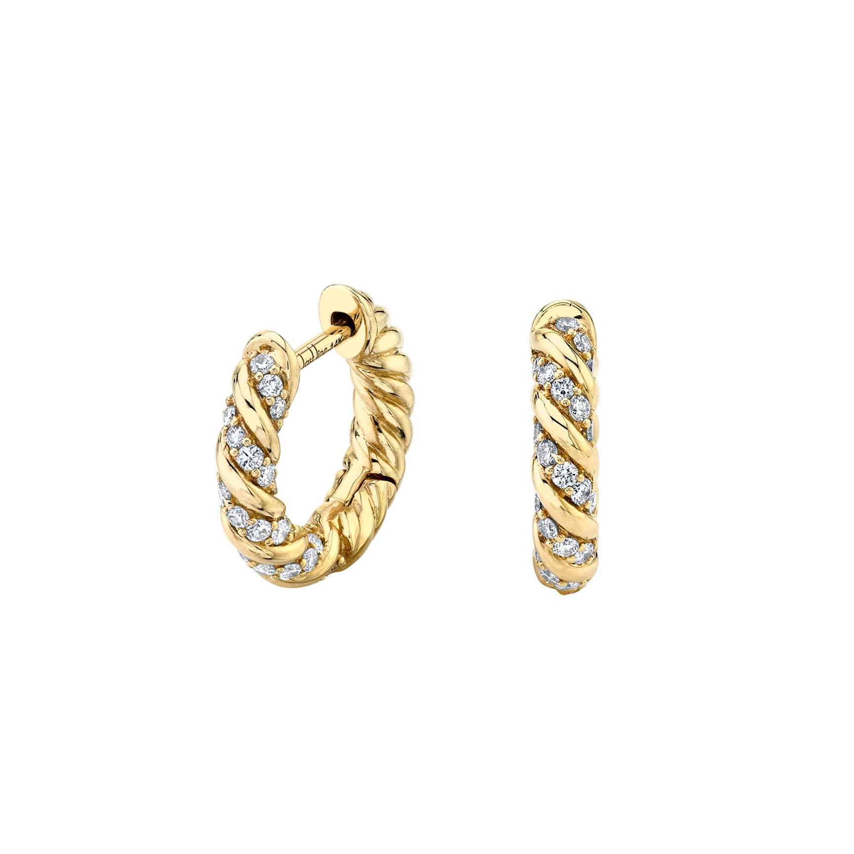 Hot Sale 18K Gold Plated Brass Zircon Huggie Hoop Earrings paved Cubic Zirconia for Women Jewelry