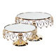 Birthday Party Decoration Round Metal Silver Dessert Display Glass Gold Cake Stand Sets