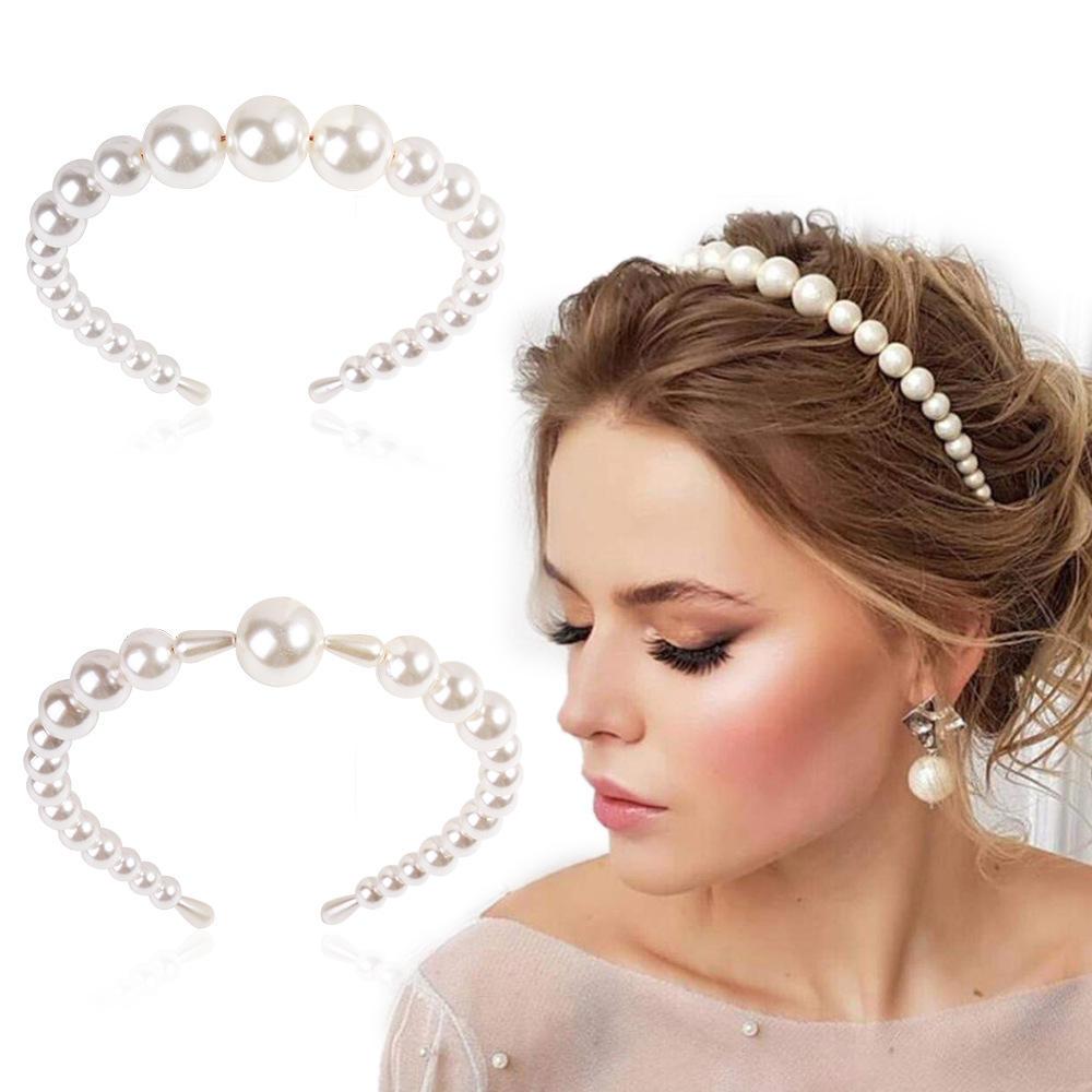 lady jewelry hair accessories headwear big pearl hair rope holder hairbands  gz