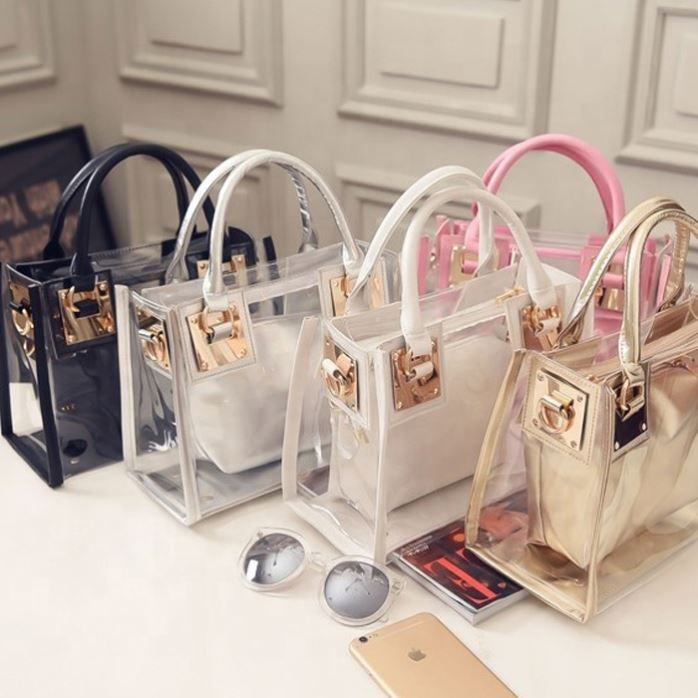 2pcs MOQ Fashion Women Shoulder Bag Clear Jelly Clutch Purse Transparent Handbag