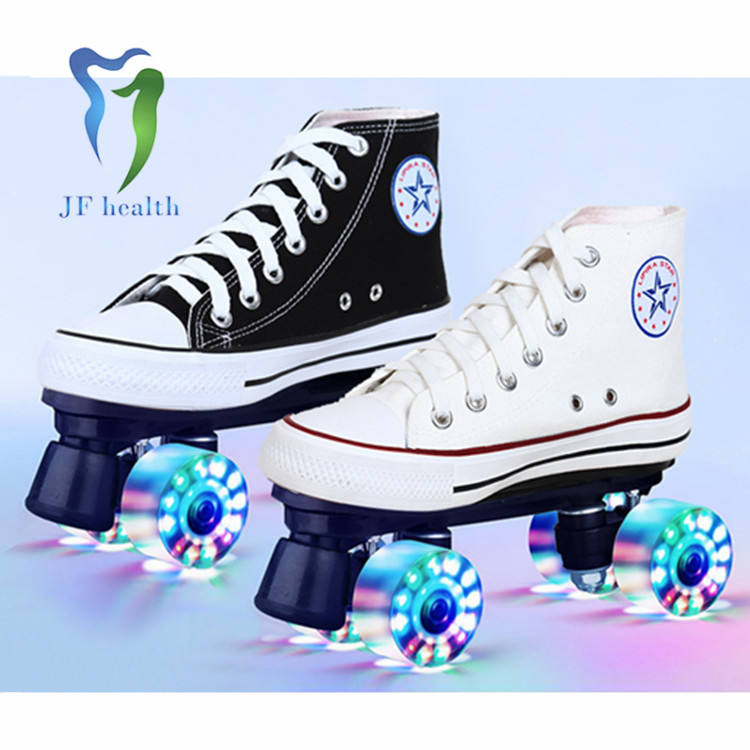 Comfortabe double row roller skate shoes canvas four-wheel ice skates trendy simple design skate roller shoe for wholesale