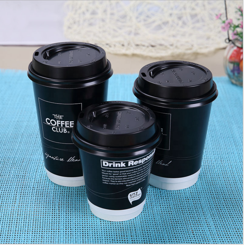 14oz paper cup customized disposable coffee with packing cup and cap customized