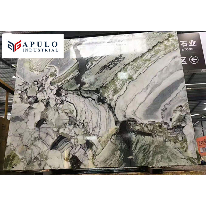 Factory direct ice jade marble slab stone black rainbow onyx