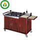 Hotel kitchen four wheels wooden cooking cart dining hall cooking trolley