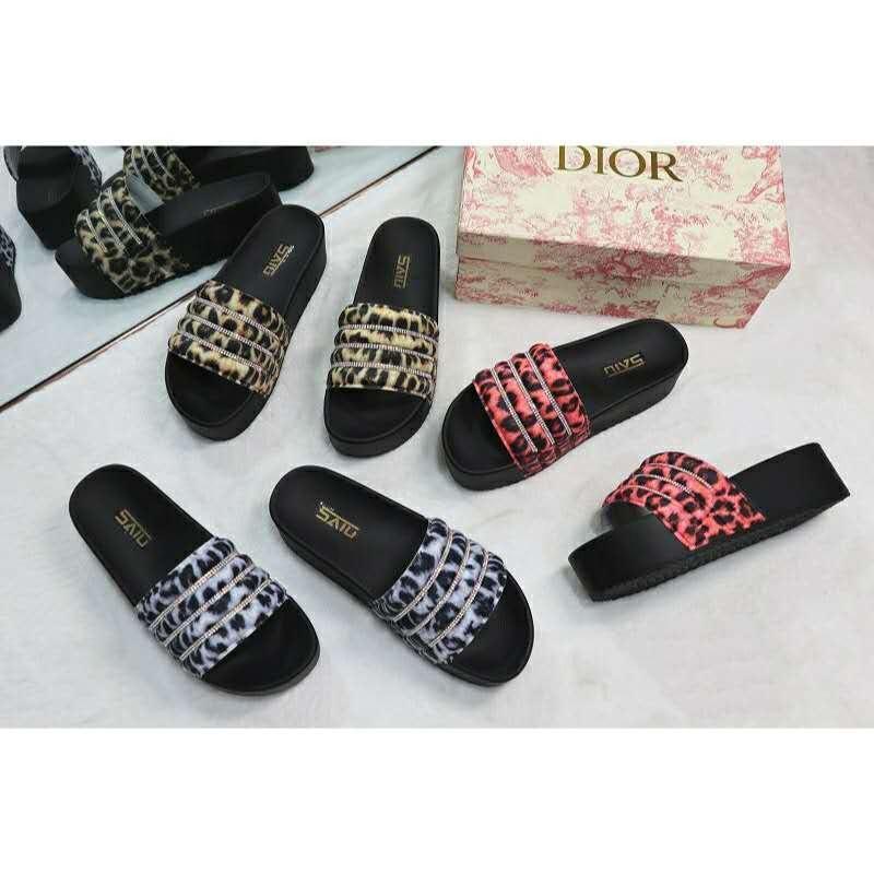 Newest design sandals women high heel leopard grain shining diamond outdoor luxury fashion slippers thick sole PVC lady slides