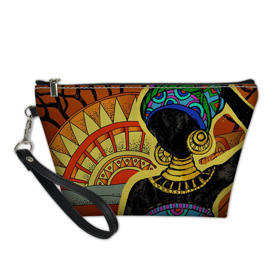 Make Up Bags for Women Black Art African Printing Cosmetic Cases Ladies Wash Kit Bags Females Travel Toiletry Pouch