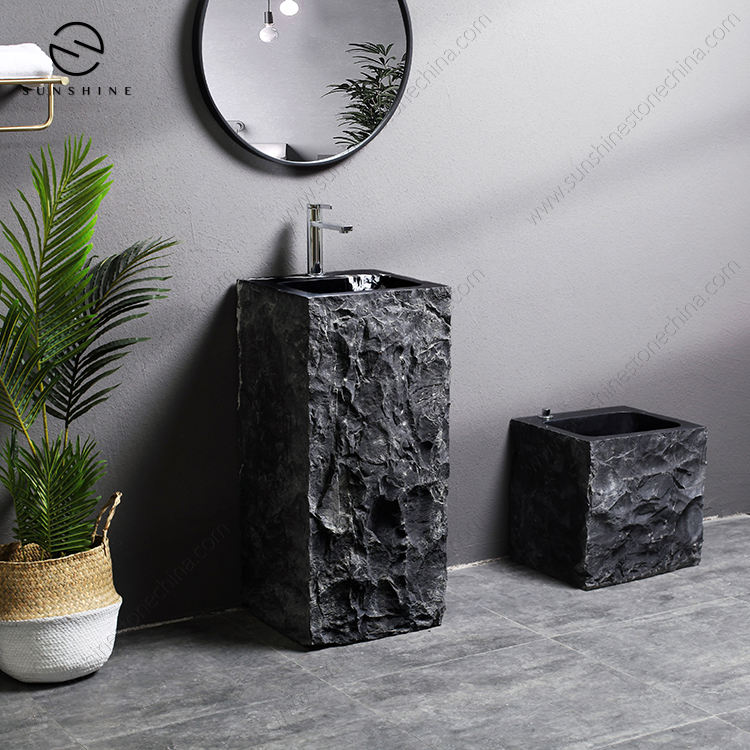 OEM Customized Genuine China Black Granite Stone Square Bathroom Pedestal Sink
