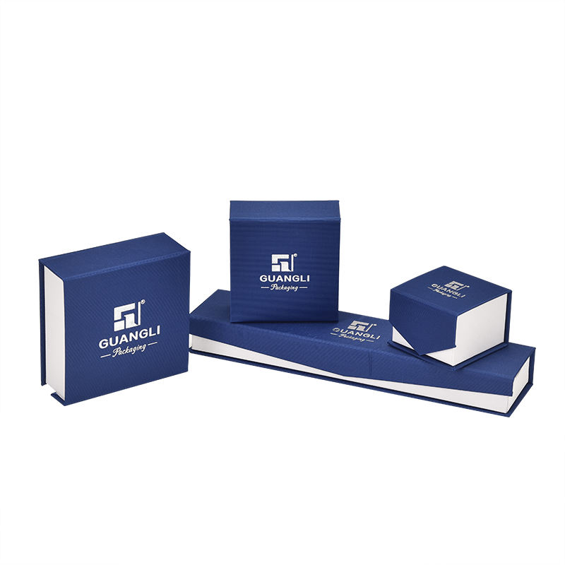 Wholesale fashion dark blue gift box magnetic cardboard jewelry package box