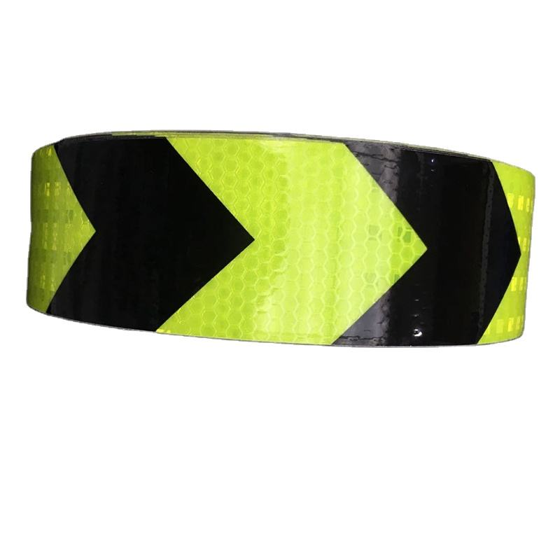Tongxing PVC Self Adhesive Reflective Vinyl Arrow Tape Fluorescent Green And Black For Vehicle Trucks