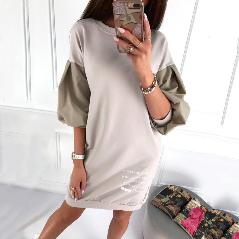Women Casual O-Neck Straight Solid Dress Patchwork Puff Sleeve Letter Loose Min Dress 2020 New Arrival Summer Fashion Dress