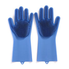 2020 Hot Selling Heat-resistant kitchen cleaning multi-functional sponge brush silicone gloves with Wash Scrubber