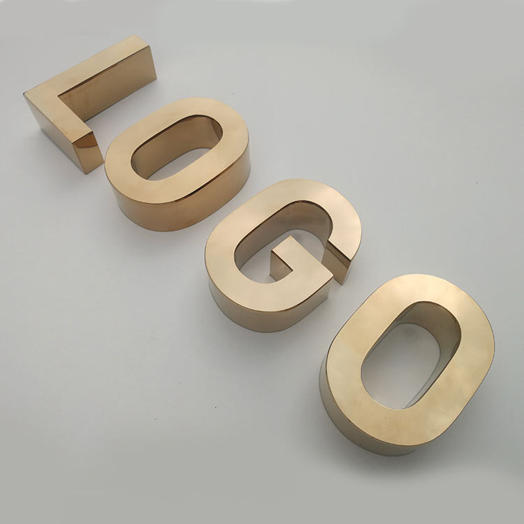 3D Channel Letters Metal Sign Rose Gold Letters