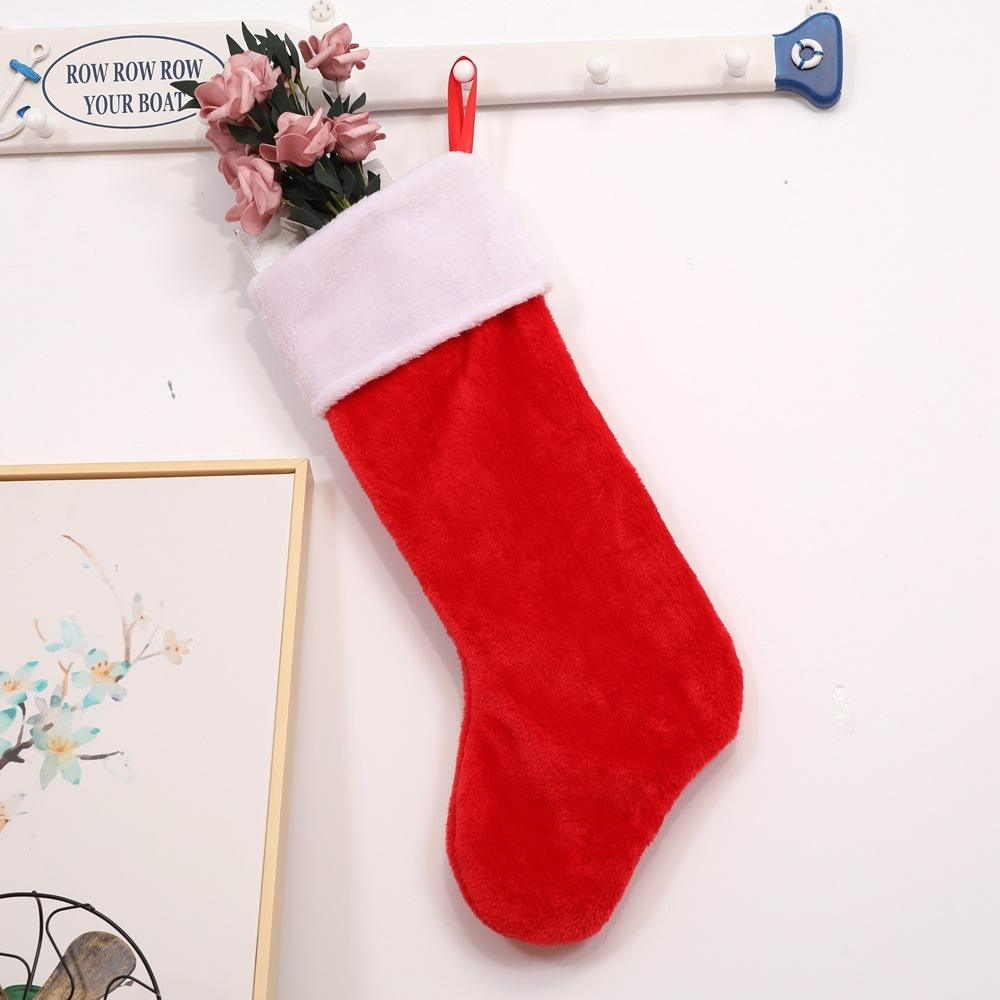 Wholesale red and white Santa Stockings Plush Plain Christmas Stockings Decoration