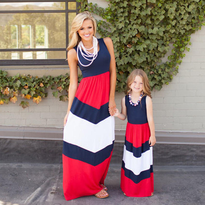 2020 Summer Wholesale Women and Kids Children O-neck Stripe Printed Maxi Dress fashion clothing girls long dress