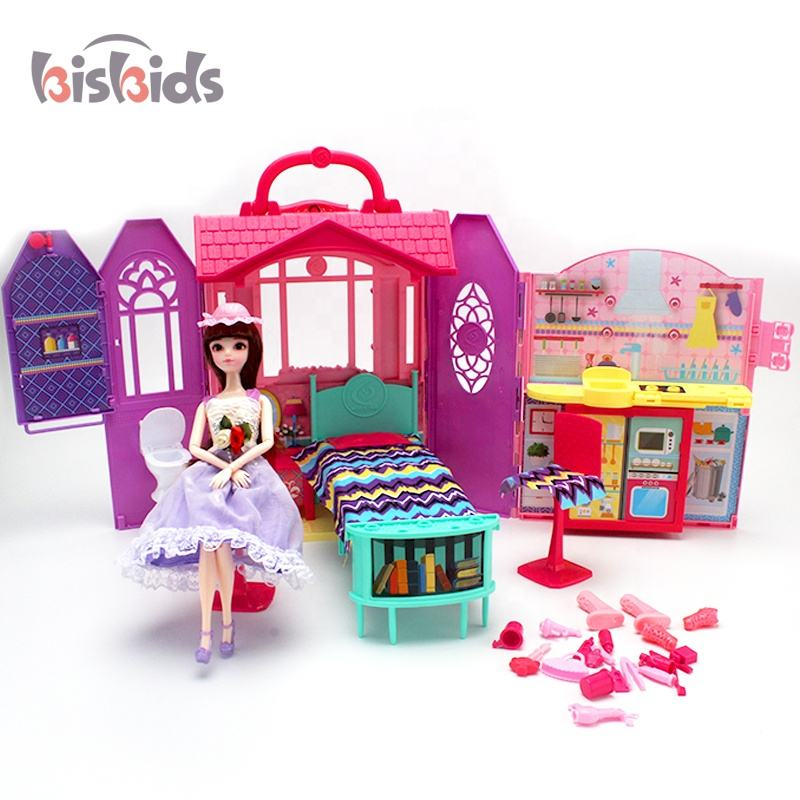 Villa suitcase play girls diy doll house play pretend toys