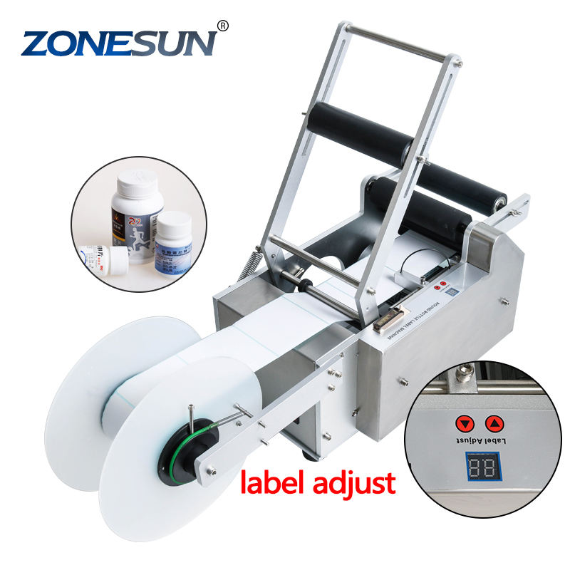 ZONESUN TB-50 Electric Sticker Glass Ampoule Vial Plastic Round Bottle Labeling Machine