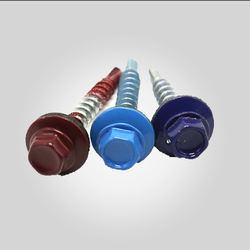 Color painted head roofing screw with EPDM washer zinc plated
