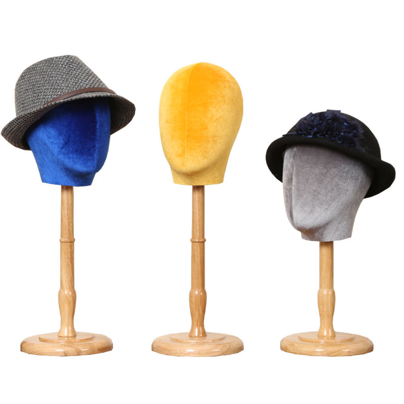 Multi Color Head Mannequin Hat Headgear Display Holder Stand PU Velvet Fabric Female Head Stand Display Racks With Wood Base