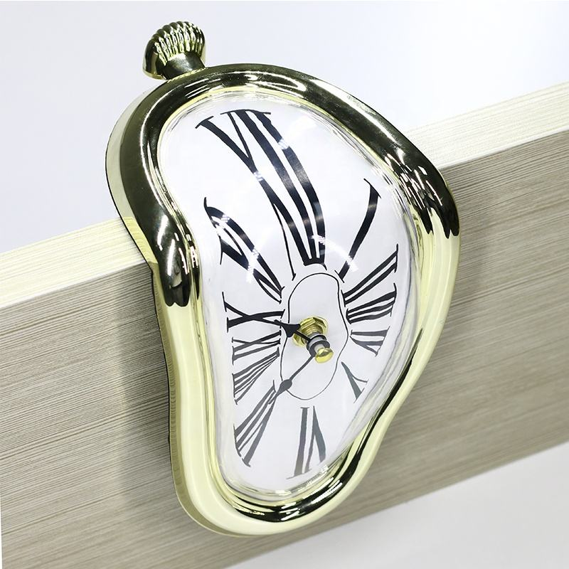KH-CL132 Distorted Creative Funny 24 Hour Analog Desk Table Plastic Melting Clock