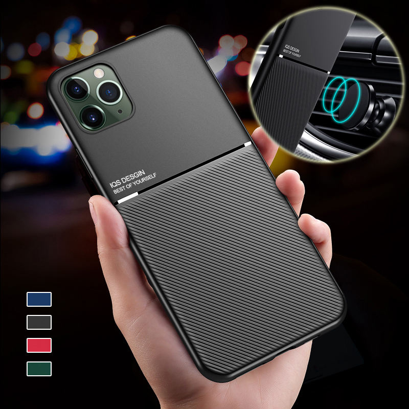 Case for iPhone 12 11 Pro XS Max mini X Xr 7 8 Plus SE Case for iPhone12 Slim Magnetic Car Holder Mobile Cell Phone Case Cover
