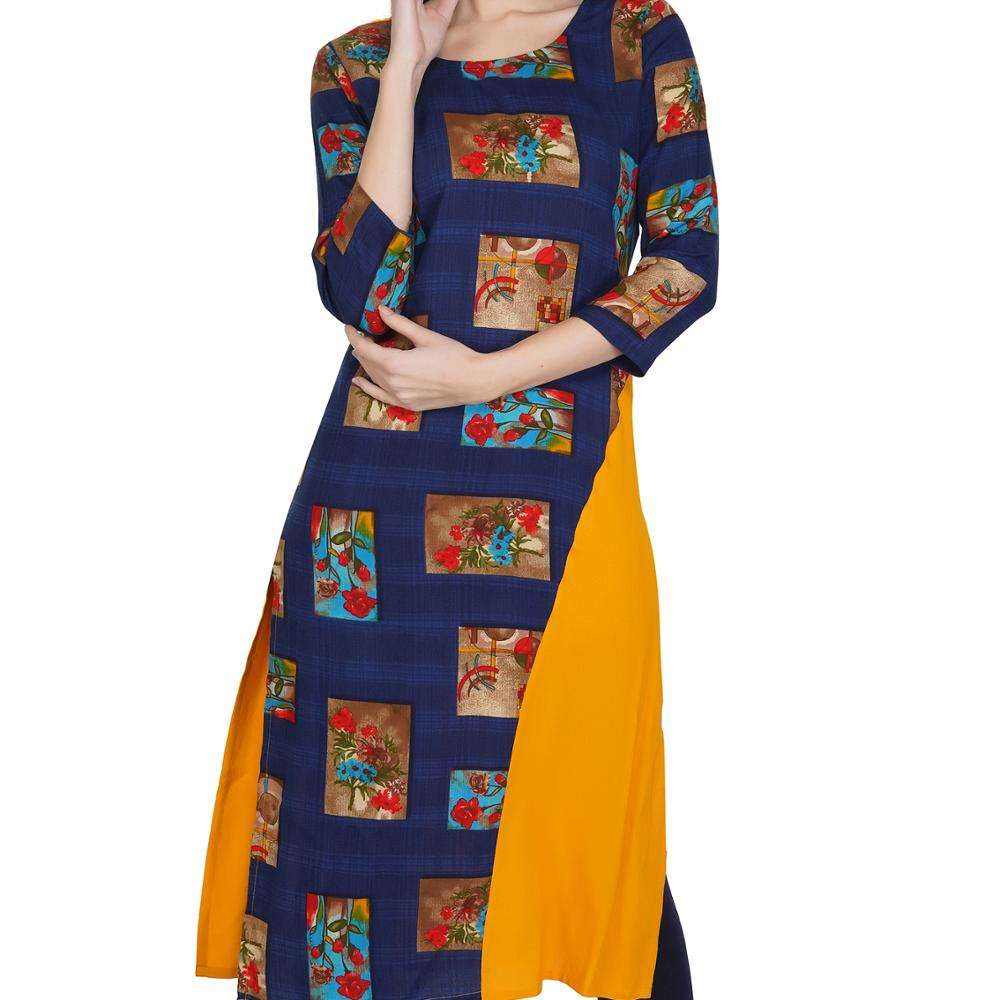 Best Quality Ethnic Rayon Mustard/Yellow Multi Print Kurti for women in wholesale