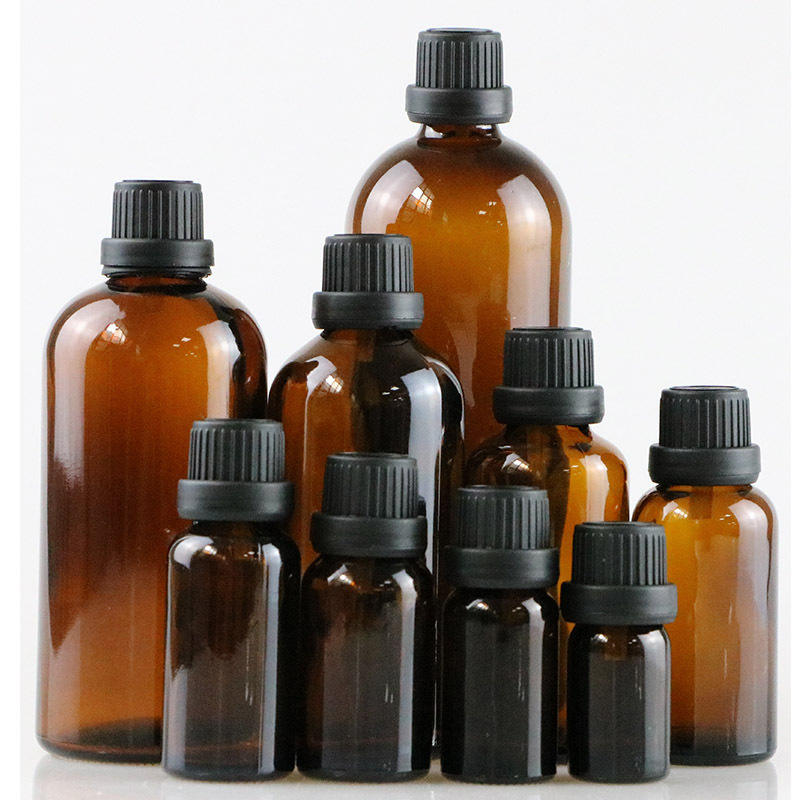 5ml-200ml dark amber essential oil glass bottle avoide light glass traveling bottle with plastic inside and black cap