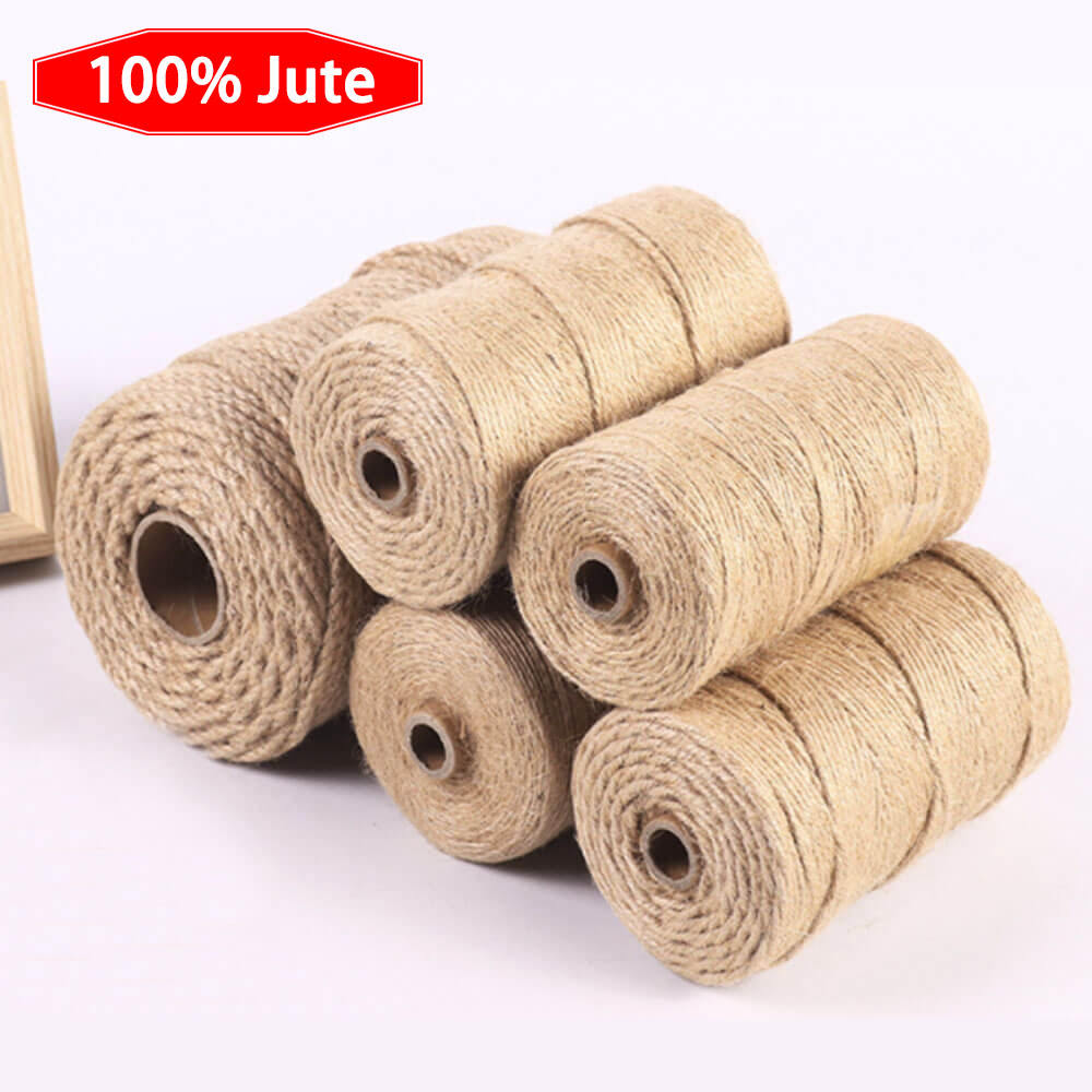 100% Natural Jute Braided Twisted Rope DIY Decoration Cord Sisal Manila Recyclable Packaging Rope