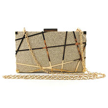 Gold pu leather evening clutch bag  metal hollow out Purse wedding party handbag