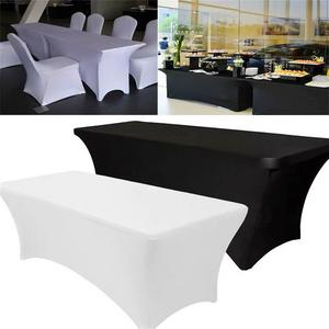 Usine blanc 6ft/8ft extensible Spandex Table couverture Spandex mariage nappes Lycra Spandex Table couvertures