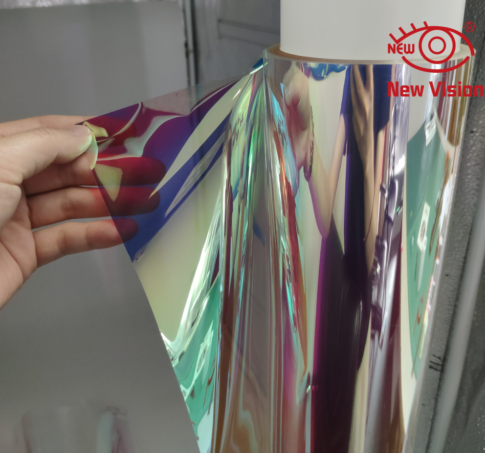 Holographic Decorative Iridescent Window Film with Rainbow Effect for Home Decoration in cool color