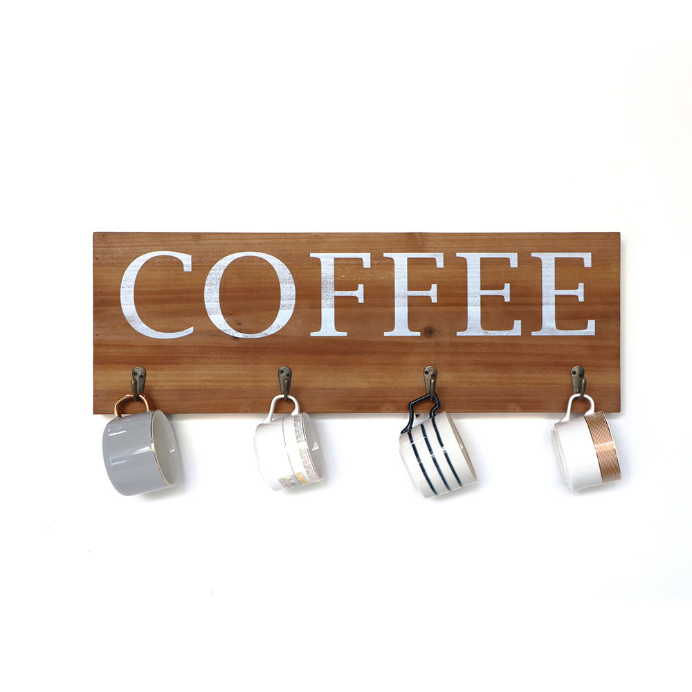 Magi Shabby chic Wood Coffee Wooden Kitchen Wall Hanging Mounted Metal Hanger Coat hooks