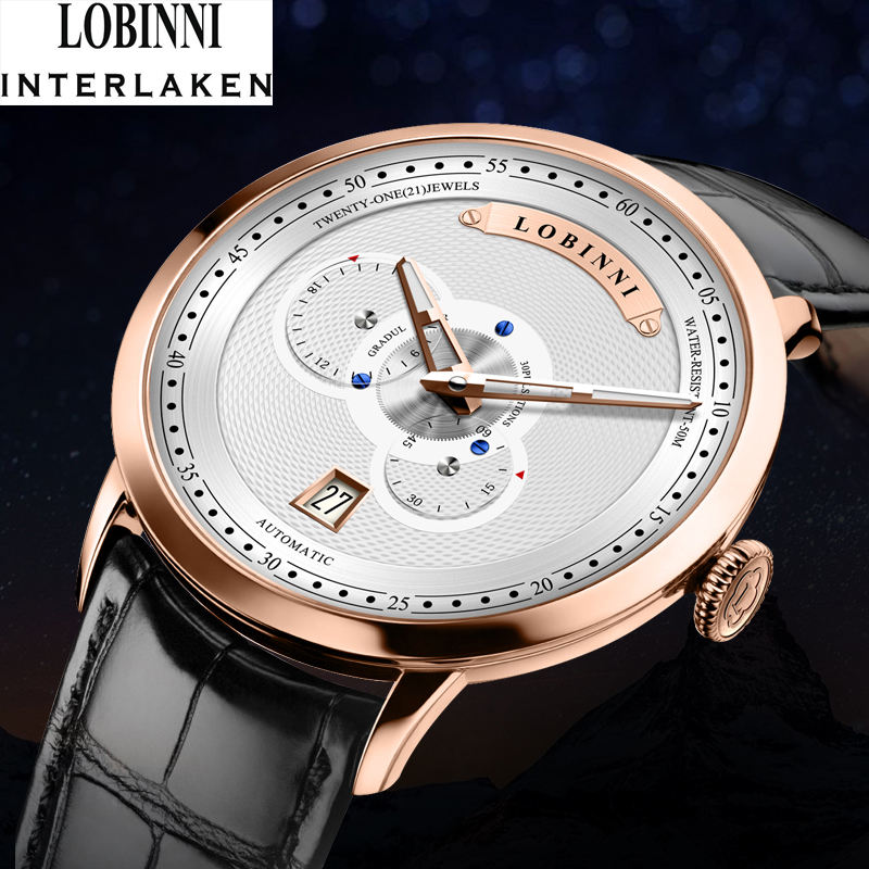 New arrival casual design lobinni unisex wrist watch automatic watch mechanical