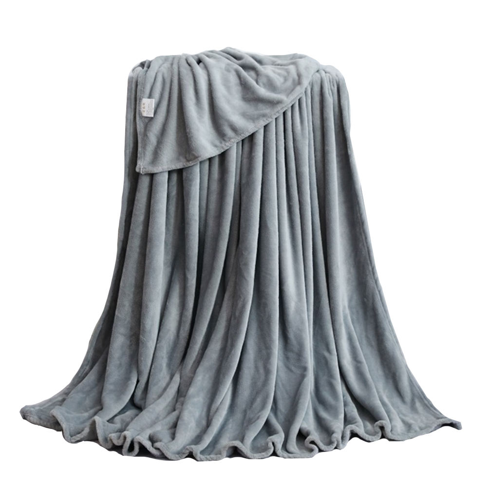 Amazon hot selling super soft double sided gray polyester flannel fleece throw blanket