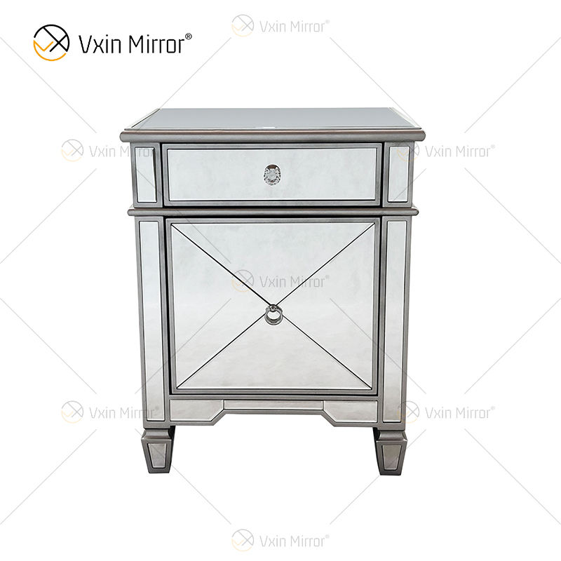 Amazing Quality WXF-873 Champagne Silver Modern Furniture Metal Nightstand With 2 Drawers