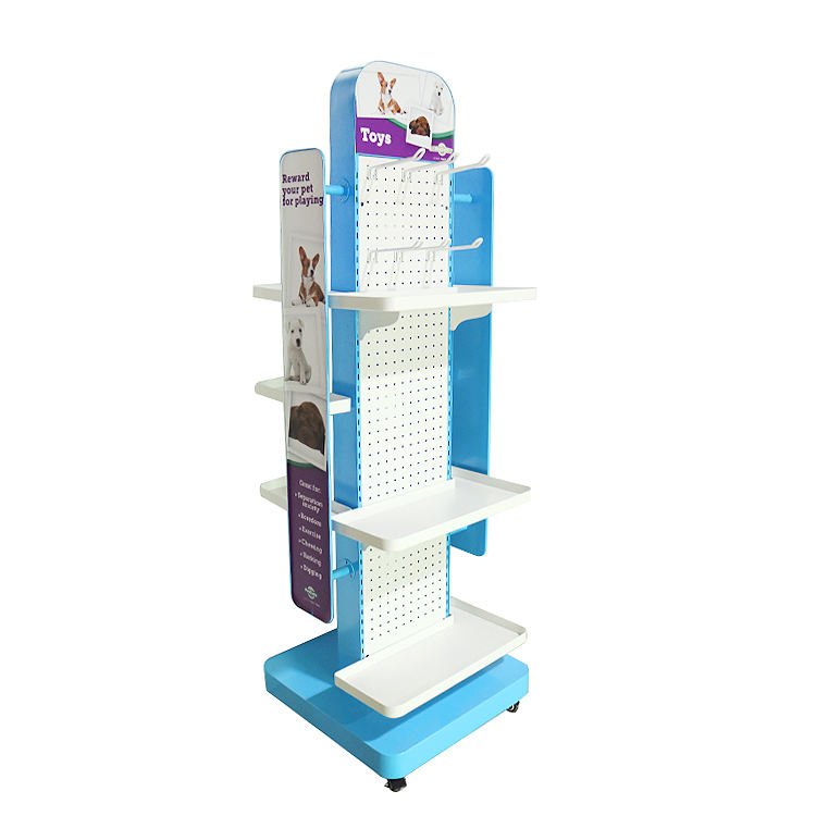 Customized high quality universal adjustable Pet shop toy display stand retail pet accessories display rack