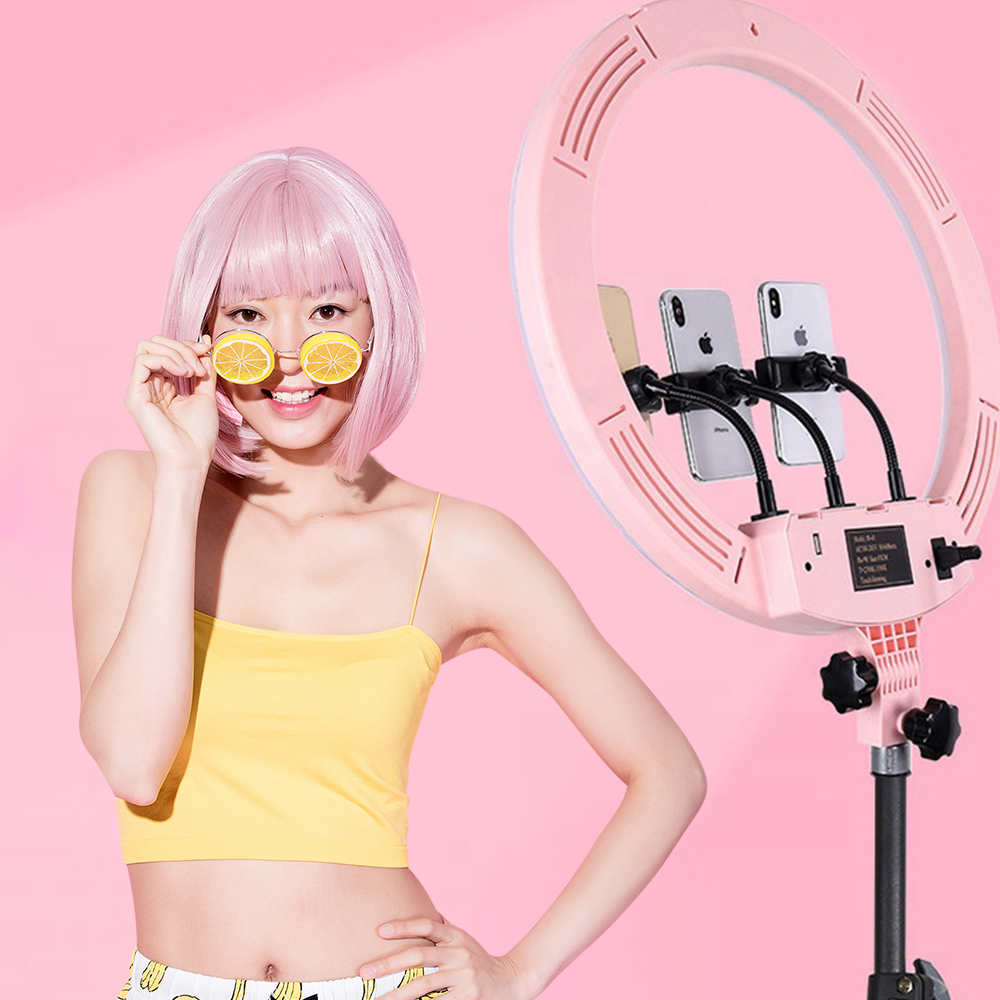High Quality 18 Inch Touch Dimming Makeup Led Circle Selfie Ring Light with Tripod Stand Phone Holder