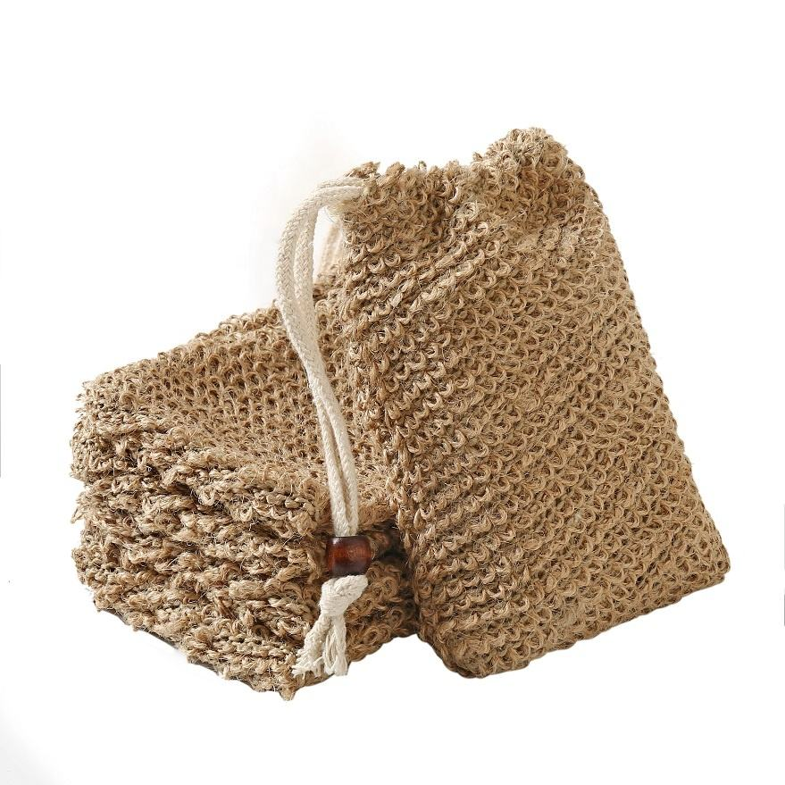 Wholesale 12x14cm Free Natural Body Cleaning Natural Fiber Hemp Mesh Net Sisal Jute Soap Bag With pouch holder for shower bath
