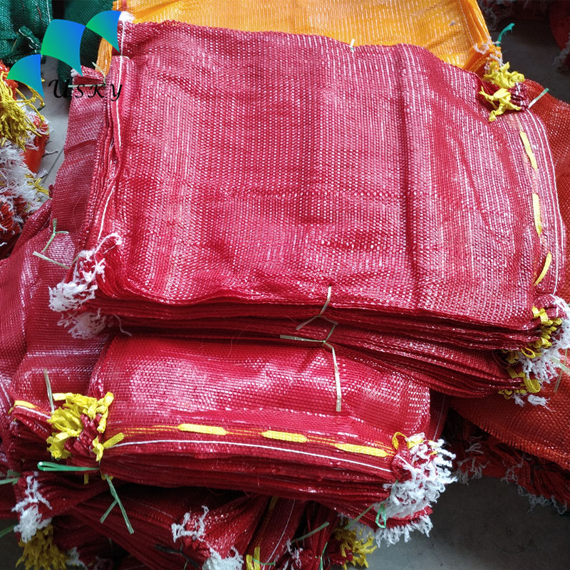 50*80 cm Bright Red Tubular Leno Small PE/PP Net Bags Firewood Potato Garlic Onion Vegetable Packaging Mesh Bags