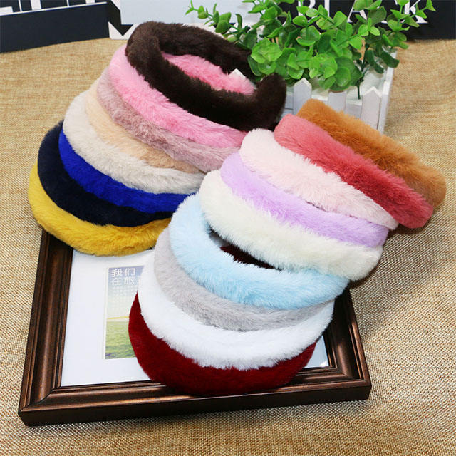 2020 Women Winter Faux Fur Thin Headband High quality Artificial Rabbit Fur Headbands For Women
