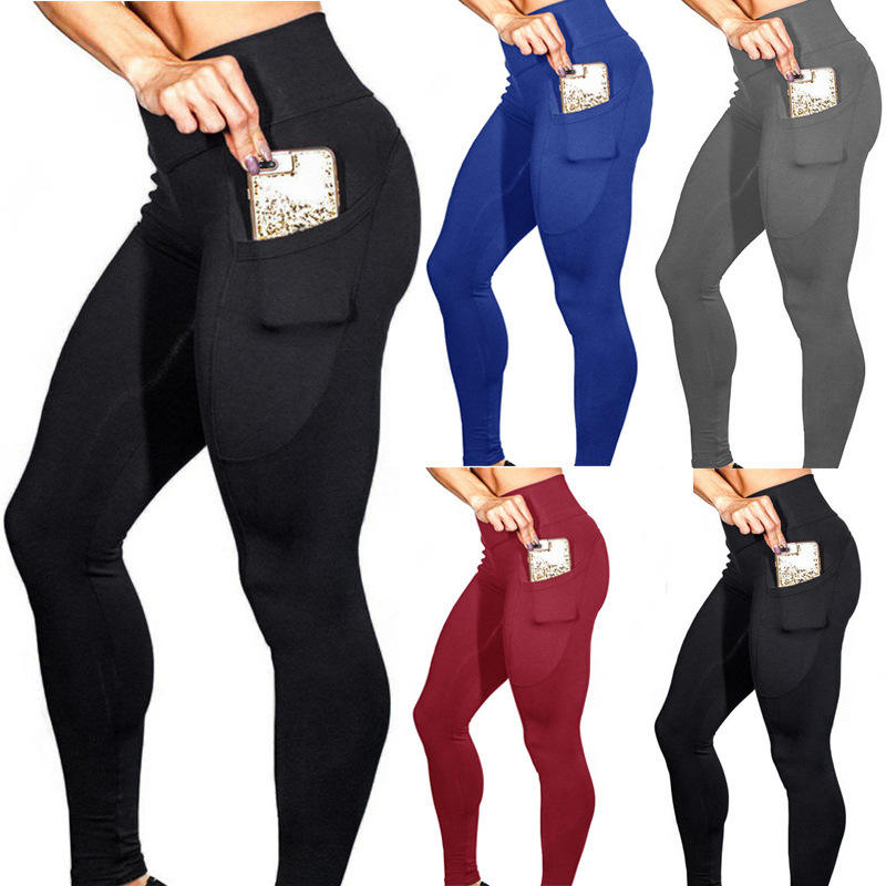 High Waist Out Pocket Yoga Pants Tummy Control Workout Running Yoga Leggings