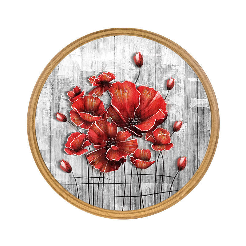 Living room dining room study oil painting colorful red peony art of life round decorative painting