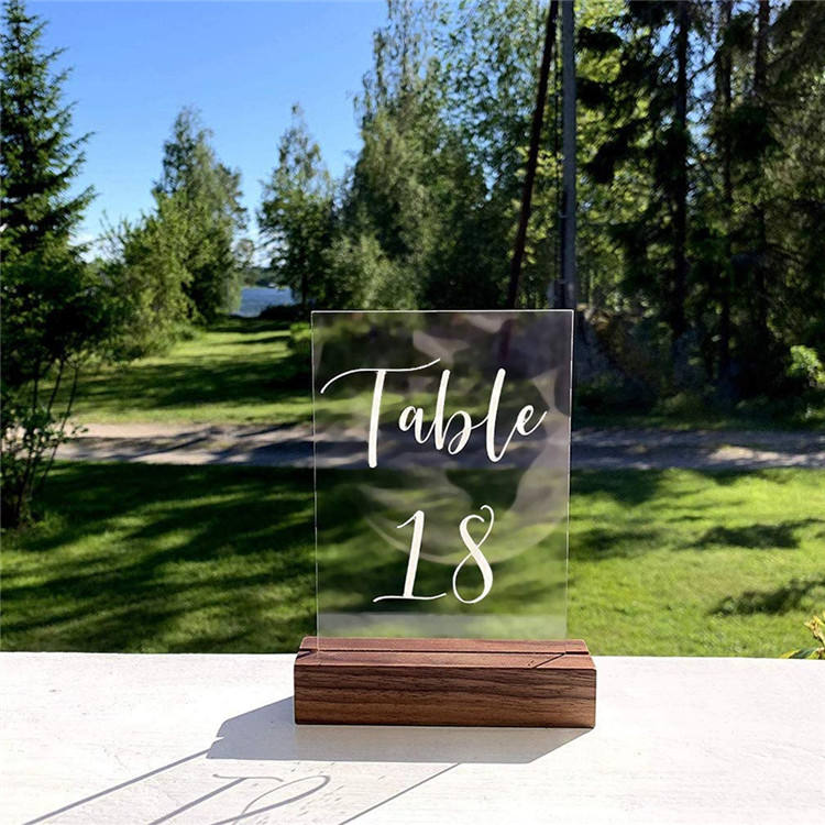Acrylic Table Numbers Sign Stand Wedding Walnut Wood Base Display Stands