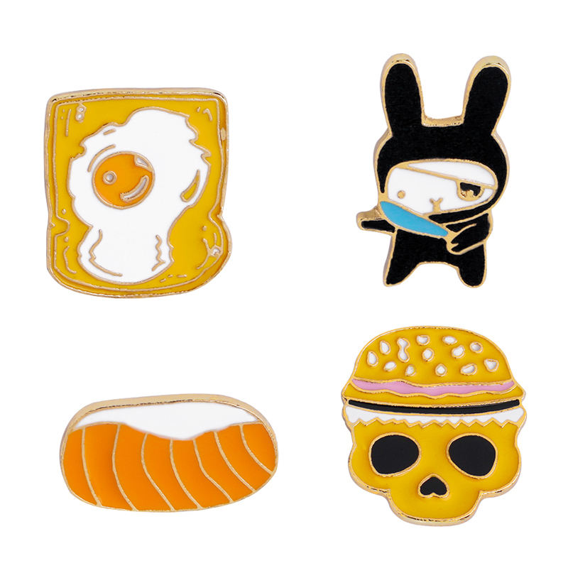 Magi Gift Skeleton Running Rabbit Manufacturer Custom Toxic Toast Sushi Food Animal Wholesale Enamel Pins for Clothing Bag Deco