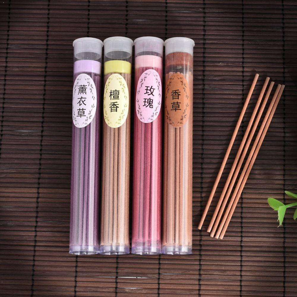 50 Sticks Incense Burners Aromatherapy Fragrance Spices Indoor Natural Aroma Rose Air Fresh Flavor Sandalwood Vanilla H7M6