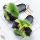 You can design any fancy multi bright color fox fur slippers and fur kids slides for girls or women