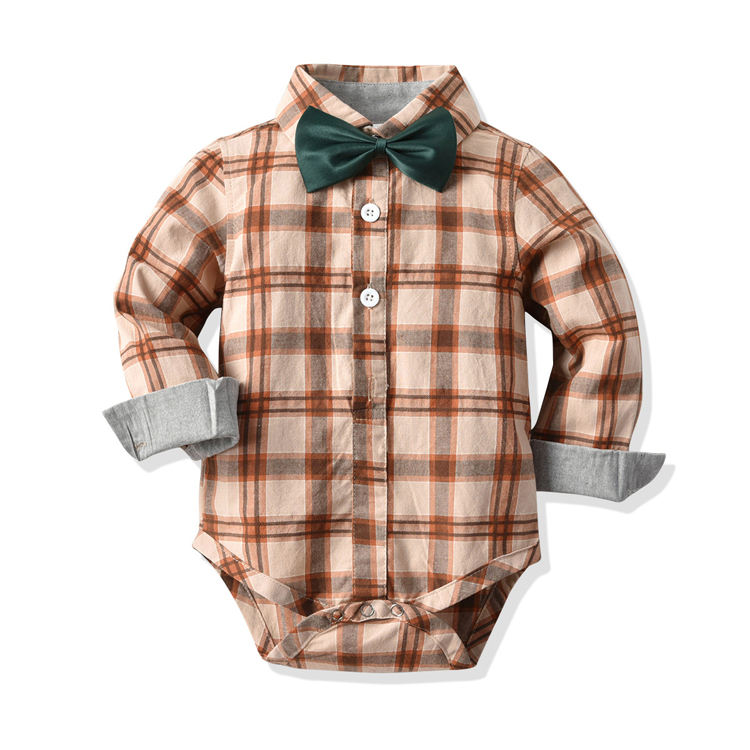 Fashion baby gentleman suit long sleeve large plaid shirt romper for baby boy