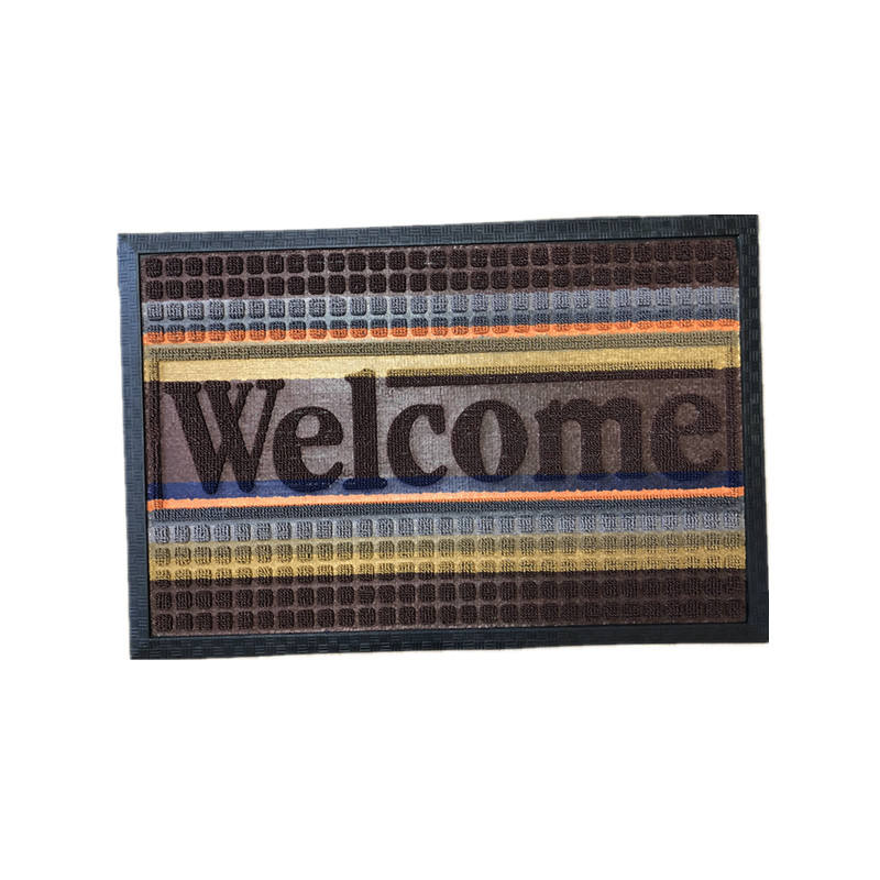 black border embossed rubber doormats