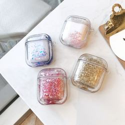 wholesale protective case liquid glitter luxury quicksand sequins headphone case for airpods 1/2