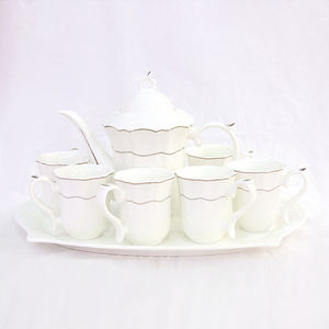 New Gold Rim Porcelain Pure White Ceramic Coffee Cup 6pcs Set And Saucer China Tea Pot Set